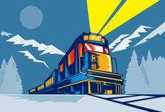 Trein die met bergen reist Royalty-vrije Stock Afbeelding
