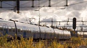 Trein die overgaat door Stock Fotografie