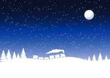 Trein in een de winternacht Stock Afbeeldingen