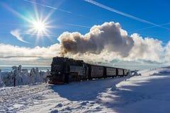 Trein in een mooi de winterlandschap Stock Afbeeldingen