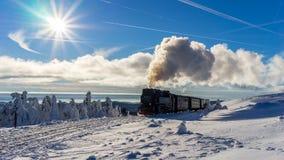 Trein in een mooi de winterlandschap stock fotografie