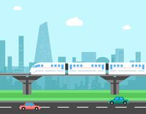 Trein en cityscape Vervoers vectorconcept Stock Foto's