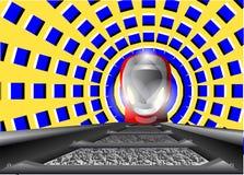 Trein en de optische illusie stock illustratie