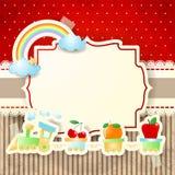 Trein en regenboog over document achtergrond Royalty-vrije Stock Fotografie