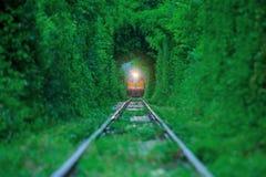 trein in groen in werking die wordt gesteld die Stock Fotografie