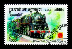 4-8-2 trein, Internationale Zegeltentoonstelling ` Philanippon 2001 ` serie, circa 2001 Royalty-vrije Stock Fotografie