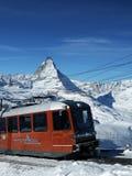 Trein in Matterhorn stock afbeeldingen