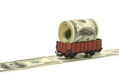 Trein met geld Stock Foto