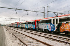 Trein met graffiti Royalty-vrije Stock Foto