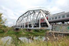 Trein met Russisch Spoorwegen (RZD) embleem Royalty-vrije Stock Afbeelding