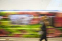 Trein in motie in de metro als abstracte achtergrond royalty-vrije stock foto