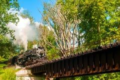 Trein naderbij komende brug Royalty-vrije Stock Afbeeldingen