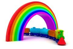 Trein onder regenboog Stock Foto's