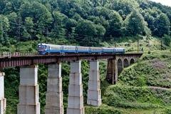 Trein op de spoorwegbrug in Karpatische bergen Stock Foto's