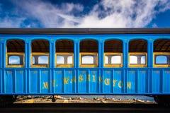 Trein op het Onderstel Washington Cog Railway, op Onderstel Washington i Royalty-vrije Stock Foto