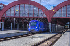 Trein op post Stad Blanes, Spanje, Europa Stock Foto