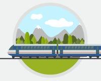 Trein op spoorweg royalty-vrije illustratie