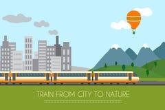 Trein op spoorweg vector illustratie