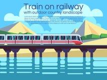 Trein op spoorweg met het openluchtlandschap van het land De vectorachtergrond van het reisconcept Royalty-vrije Stock Foto