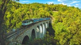 Trein op Zampach-viaduct Royalty-vrije Stock Afbeelding