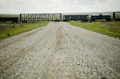 Trein over de prairies stock afbeelding