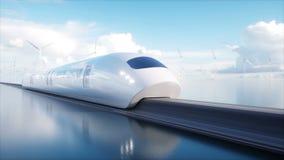 Trein van de Speedly de Futuristische monorail Concept toekomst Mensen en Robots Water en windenergie Realistische 4K animatie royalty-vrije illustratie