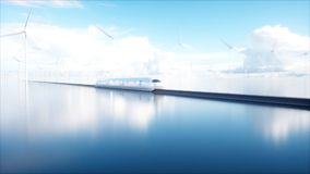 Trein van de Speedly de Futuristische monorail Sc.i-de post van FI Concept toekomst Mensen en Robots Water en windenergie 3d Stock Fotografie
