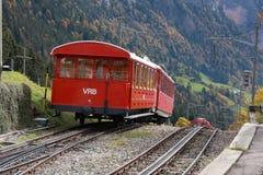 Trein in Zwitserse Alpen Stock Afbeelding