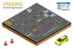 Treinado no estacionamento do conceito da escola de condução em lições de condução e em movimentação do teste ilustração stock