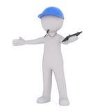 Treinador dos desenhos animados com assobio de sopro da prancheta Imagem de Stock Royalty Free