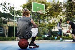 Treinador Exercise Young Concept da corte da habilidade do esporte do basquetebol Foto de Stock