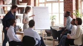 Treinador fêmea do negócio que dá a apresentação no whiteboard no seminário de treinamento video estoque