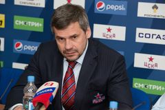 Treinador principal do clube Dmitry Kvartalnov do hóquei de CSKA Foto de Stock Royalty Free
