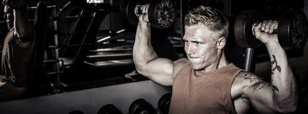 Treinamento apto do homem no gym Imagens de Stock Royalty Free