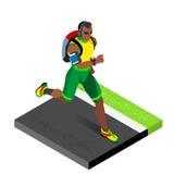 Treinamento atlético dos corredores de maratona que dá certo o Gym Os corredores que correm o atletismo competem dar certo para o Fotos de Stock
