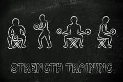 Treinamento da força e ilustração do levantamento de peso Imagem de Stock Royalty Free