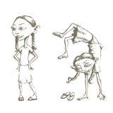 Treinamento da menina ilustração royalty free