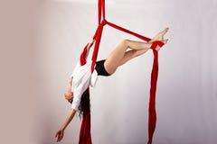 Treinamento da menina em sedas aéreas Foto de Stock