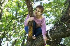 Treinamento da menina em uma árvore no ar livre Imagens de Stock Royalty Free