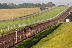 Treinamento da trilha da areia dos jóqueis dos cavalos de raça Imagem de Stock