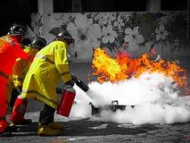 Treinamento de Firefigther Fotos de Stock