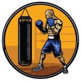 Treinamento do atleta do encaixotamento no gym Foto de Stock Royalty Free