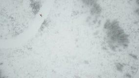 Treinamento do esquiador Vista superior da trilha do esqui