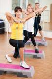 Treinamento do grupo em um fitness center Foto de Stock Royalty Free