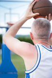 Treinamento do jogador de basquetebol na corte conceito sobre basketbal Fotografia de Stock