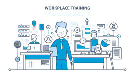Treinamento do local de trabalho, tecnologia, comunicações, aprendendo em linha, webinars, dados, conhecimento, ensinando ilustração royalty free