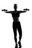 Treinamento do peso da postura da aptidão do exercício da mulher foto de stock