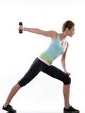Treinamento do peso do bodybuilding da aptidão do exercício da mulher fotos de stock royalty free