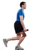 Treinamento do peso do exercício do homem que agacha-se imagens de stock