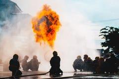 Treinamento do sapador-bombeiro Foto de Stock